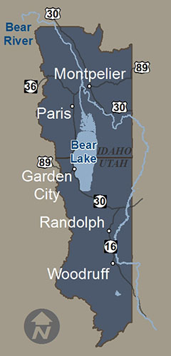 Bear Lake Country Utah and Idaho Map